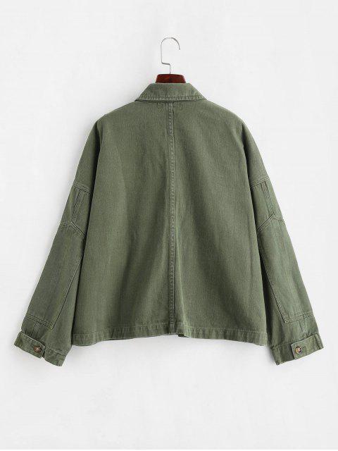 unique ZAFUL Drop Shoulder Pocket Denim Jacket - ARMY GREEN M Mobile