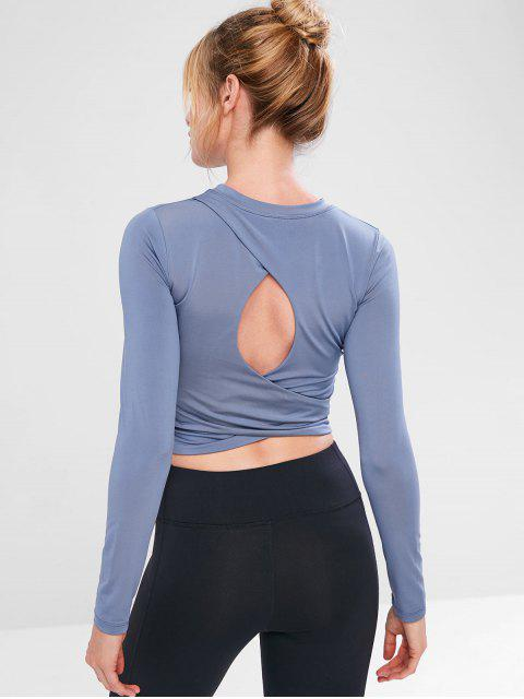 women Cutout Long Sleeve Crop T-shirt - BLUE GRAY S Mobile