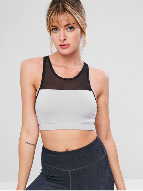 womens Mesh Insert Color Block Bra - GRAY S Mobile