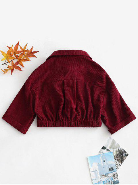 unique ZAFUL Cuffed Sleeves Crop Corduroy Shirt - RED WINE XL Mobile