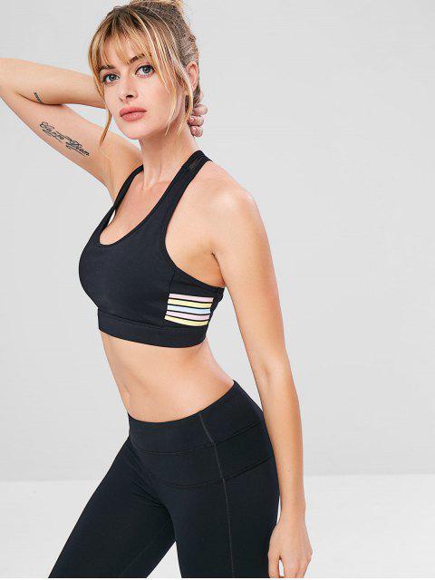 ladies Striped Mesh Insert Cutout Bra - BLACK M Mobile