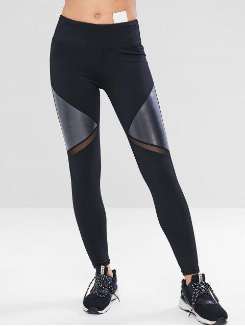 lady Mesh Faux Leather Insert Gym Leggings - BLACK M Mobile