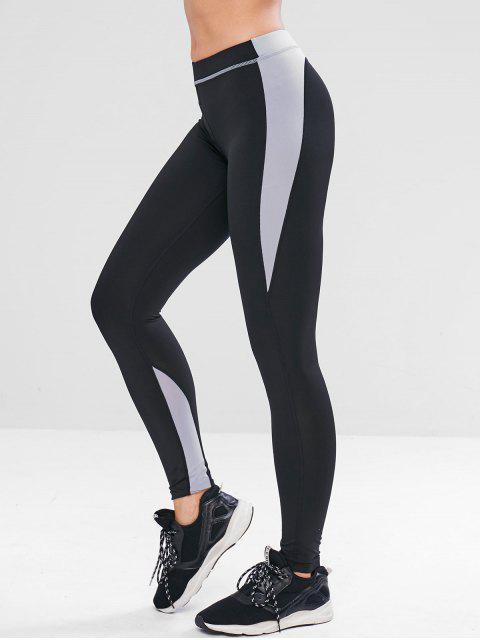 ladies Letter Color Block Skinny Leggings - BLACK S Mobile