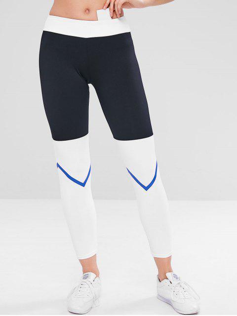 fancy Color Block Zig Zag Workout Leggings - BLACK S Mobile