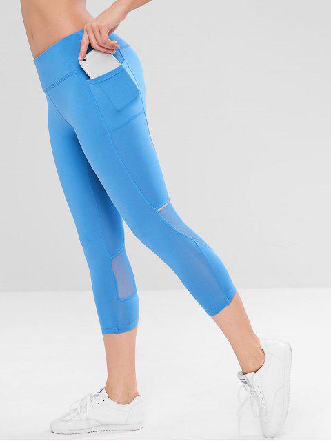 affordable Mesh Insert Side Pocket Workout Leggings - BLUE S Mobile