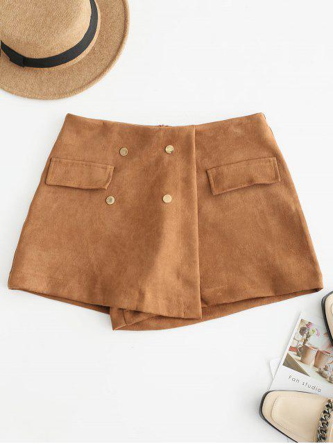 outfits High Waisted Faux Suede Skort Shorts - BROWN XL Mobile