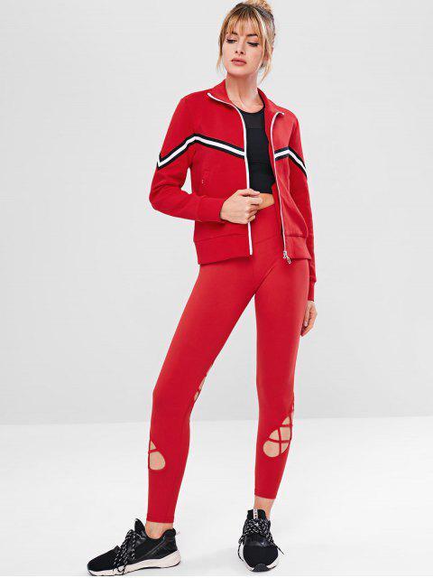 ZAFUL Gestreifte Reißverschluss-Taschenjacke - Rot M Mobile