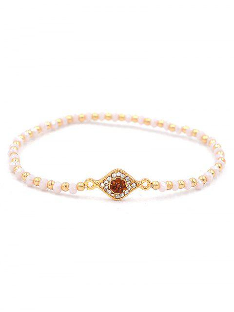 buy Beaded Artificial Crystal Single Eye Bracelet - GOLD  Mobile
