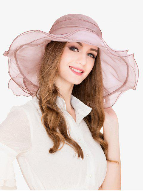 womens Elegant Solid Color Beach Travel Hat - PINK  Mobile