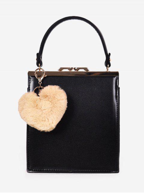 women's Toe Handle Heart Pendant Crossbody Bag - BLACK  Mobile