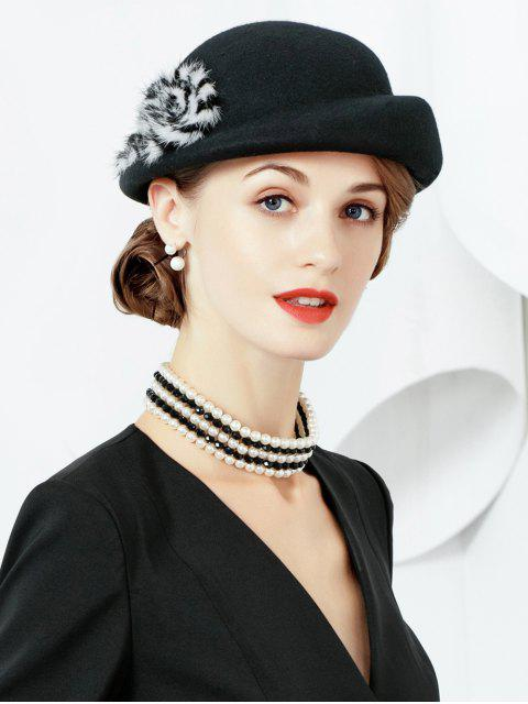 outfit Solid Color Fuzzy Elegant Hat - BLACK  Mobile