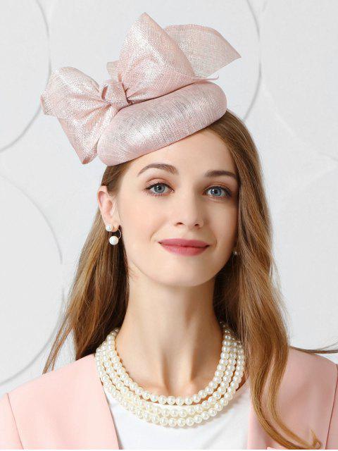 women Vintage Large Bowknot Tea Party Hat - LIGHT PINK  Mobile