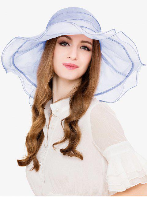 lady Elegant Solid Color Beach Travel Hat - LIGHT BLUE  Mobile