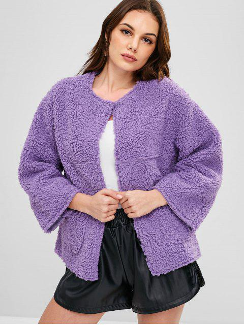 fashion Raw Cut Fluffy Faux Shearling Winter Coat - PURPLE SAGE BUSH ONE SIZE Mobile