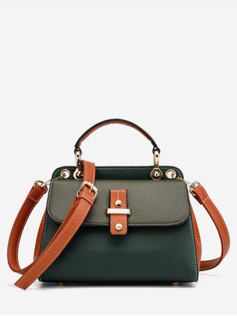 best Zipper Design Hit Color Splicing Tote Bag - SEA GREEN  Mobile