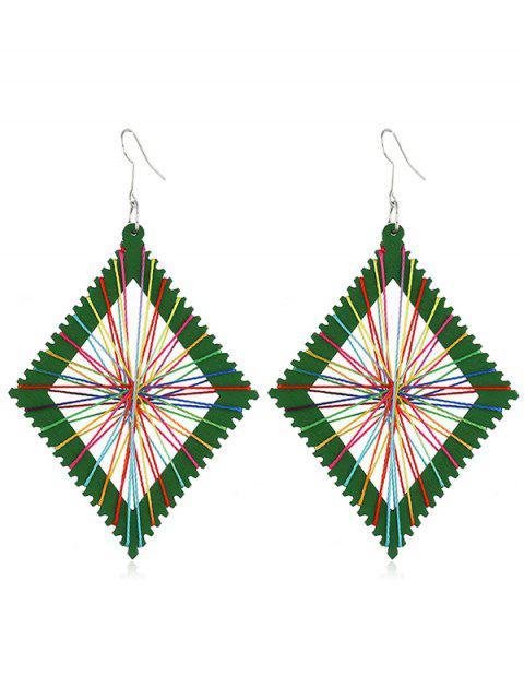 lady Geometric Knit Design Rectangular Earrings - GREEN  Mobile