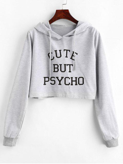 shop Letter Graphic Pattern Crop Hoodie - LIGHT GRAY M Mobile