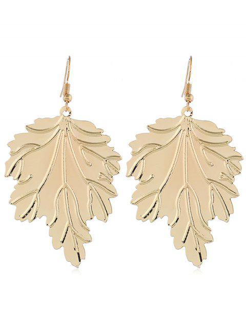 latest Metal Leaf Shaped Hook Earrings - GOLD  Mobile