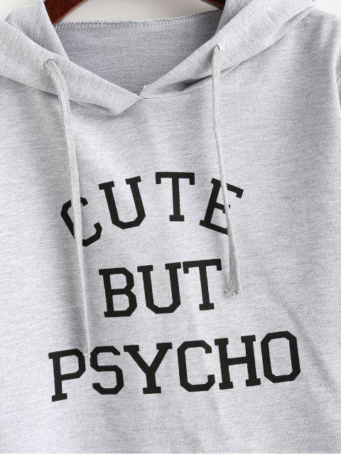 ladies Letter Graphic Pattern Crop Hoodie - LIGHT GRAY L Mobile