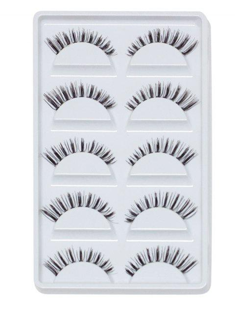 unique Cosmetic 5 Pairs Handmade Natural Criss Cross Eyelashes - BLACK  Mobile