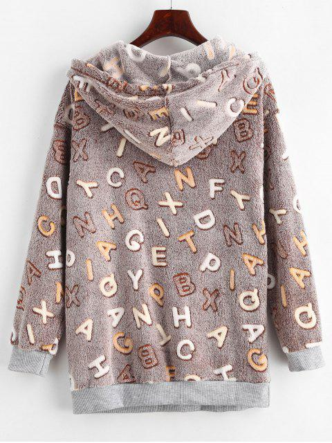affordable Letter Graphic Loose Fluffy Hoodie - MULTI-B L Mobile