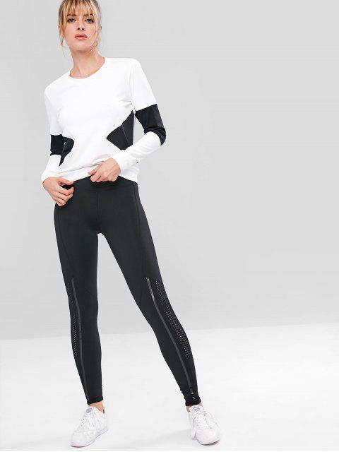 Farbblock-Trainings-Sweatshirt - Weiß S Mobile