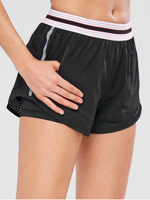 ladies Perforated Striped Pocket Shorts - BLACK M Mobile