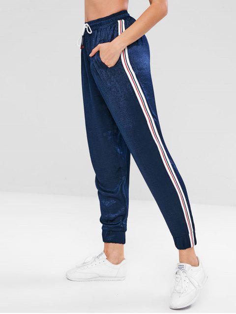 Pantalon de jogging sport à contraste latéral - Bleu de Minuit S Mobile
