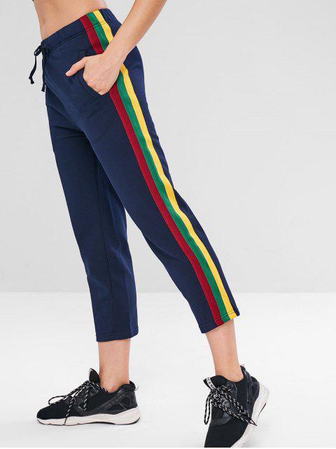 Pantalon de Gymnastique Contrasté à Cordon - Bleu de Minuit S Mobile