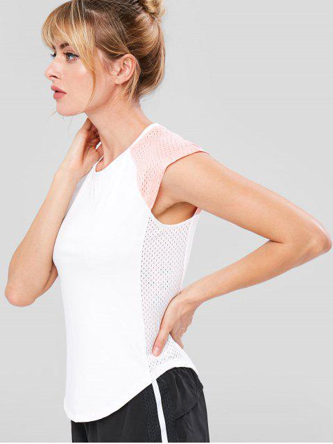 T-shirt Perforé en Blocs de Couleurs à Manches Raglan - Blanc M Mobile