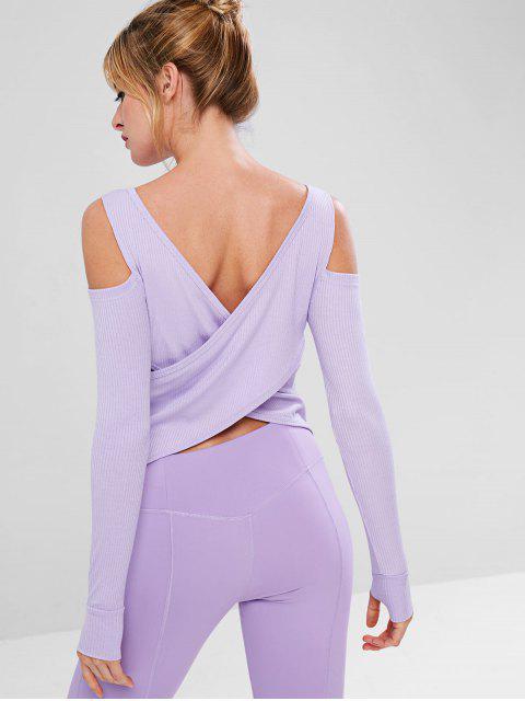 Pocket Cold Shoulder Stretchy Gymnastik Tee - Mauve S Mobile