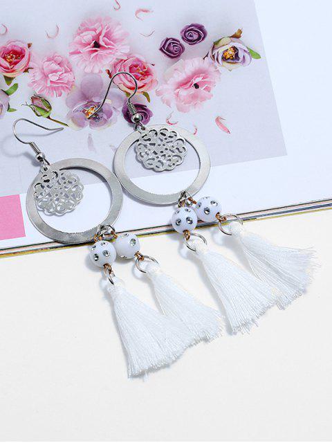 Bohemian Round Shape Tassel Hook Earrings - Молочный белый  Mobile