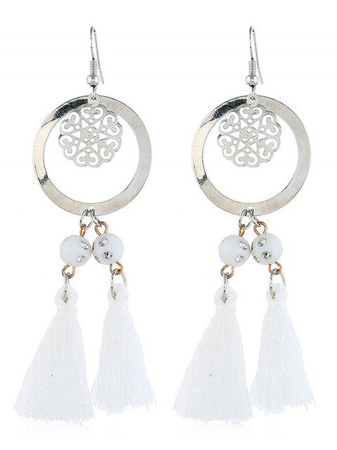fancy Bohemian Round Shape Tassel Hook Earrings - MILK WHITE  Mobile