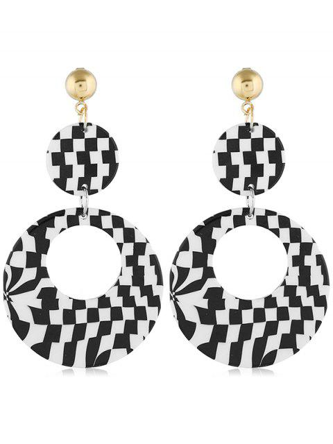 buy Geometric Color Block Design Circle Earrings - BLACK  Mobile