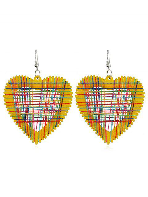 womens Heart Decoration Hollow Out Earrings - RUBBER DUCKY YELLOW  Mobile
