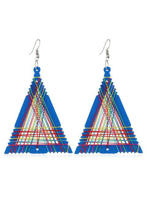 trendy Geometric Triangle Shape Knitted Earrings - DODGER BLUE  Mobile