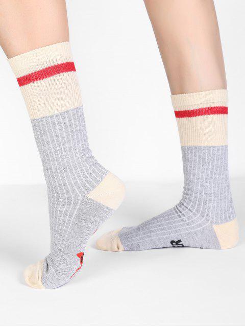 buy Fun Letter Color Block Crew Socks - LIGHT GRAY  Mobile