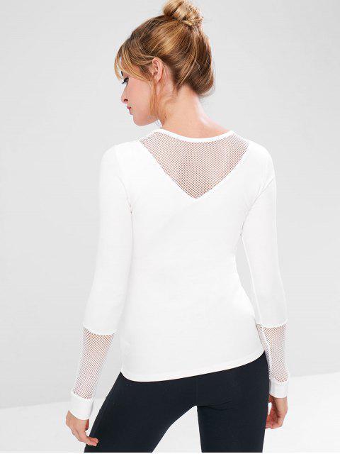 T-shirt de Gymnastique Maigre Panneau Rembourré en Résille - Blanc M Mobile