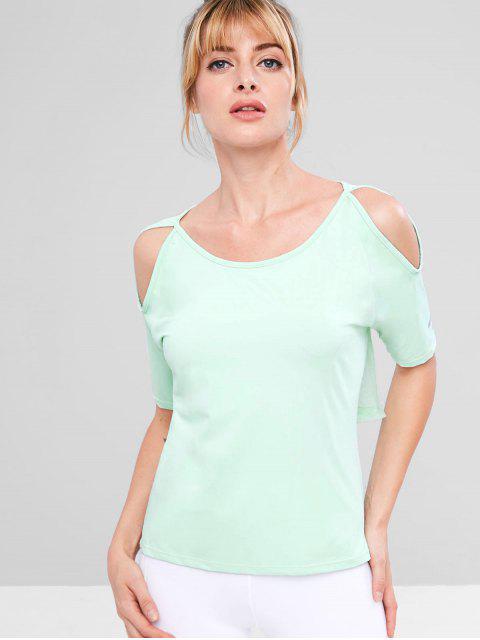 T-shirt en Maille Insérée à Goutte Epaule - Vert Menthe L Mobile