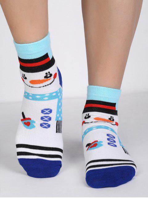 online Cartoon Snowman Polka Dot Crew Socks - MULTI  Mobile
