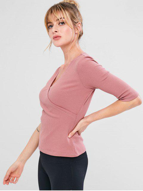 affordable Surplice Ribbed Sport Running Tee - LIPSTICK PINK L Mobile