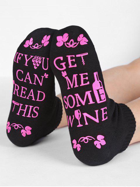 buy Fun Letter Sentence Floral Crew Socks - BLACK  Mobile