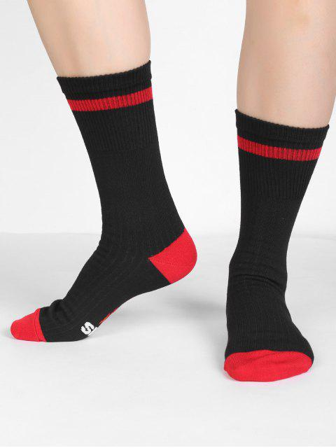 lady Fun Letter Sentences Decorative Mid Calf Socks - BLACK  Mobile