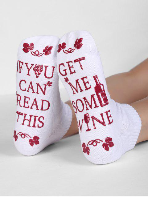 best Fun Letter Sentence Floral Crew Socks - WHITE  Mobile