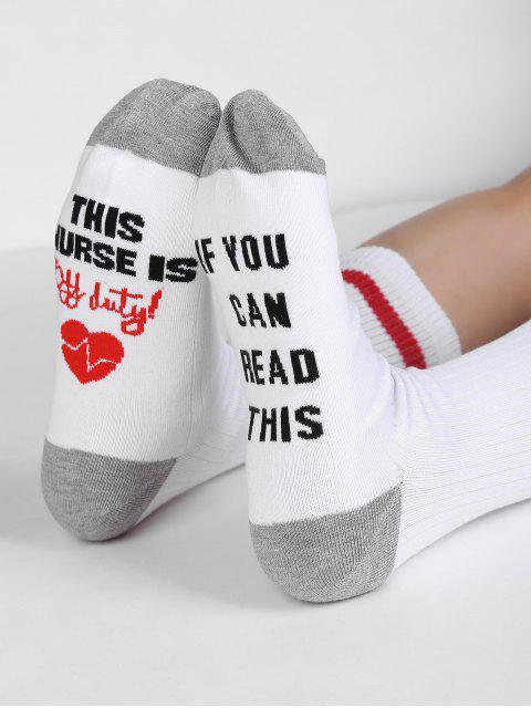 hot Fun Letter Sentences Decorative Mid Calf Socks - WHITE  Mobile