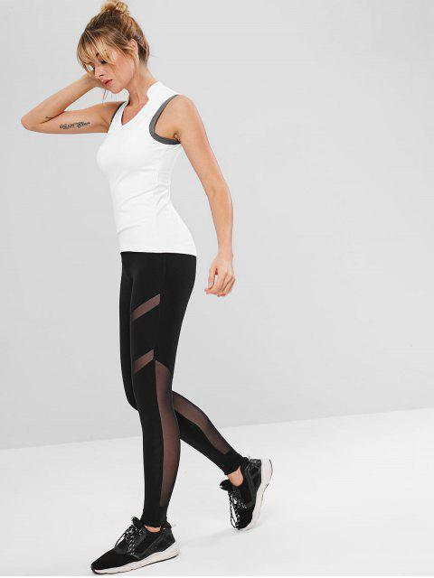 Mesh-Panel Sportliche Workout Leggings - Schwarz S Mobile