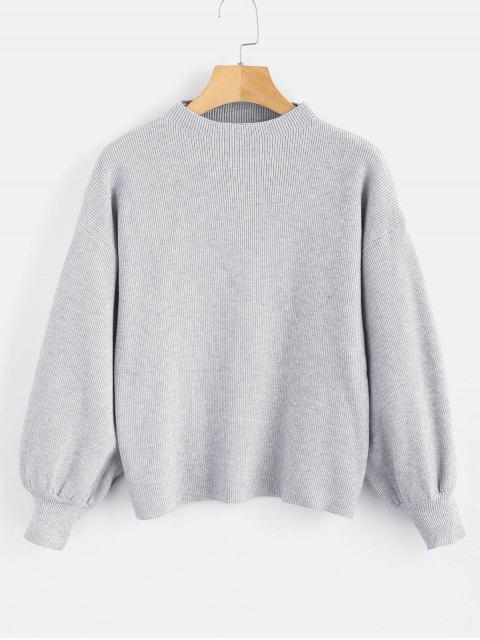 Tropfen Schulter Plain Lantern Sleeve Pullover - Graue Wolke Eine Größe Mobile