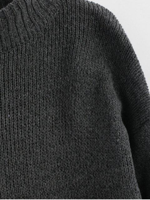 unique Plain Heathered Pullover Sweater - CARBON GRAY ONE SIZE Mobile