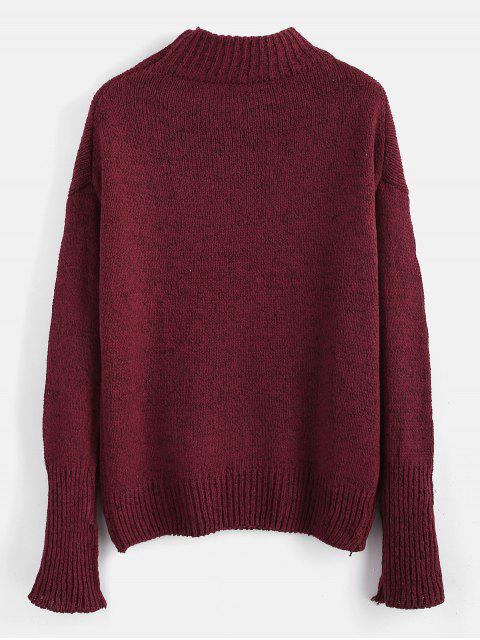 affordable Plain Heathered Pullover Sweater - RED WINE ONE SIZE Mobile