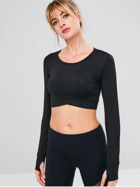 new Crop Stretchy Sport Gym Tee - BLACK S Mobile